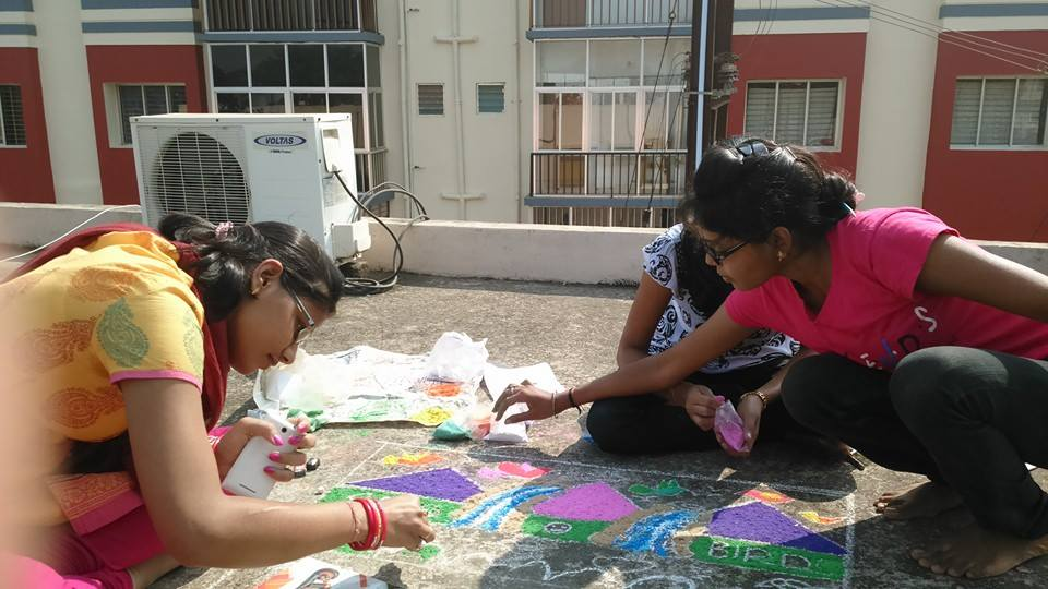 Rangoli competion by students at Trytoon Academy 3