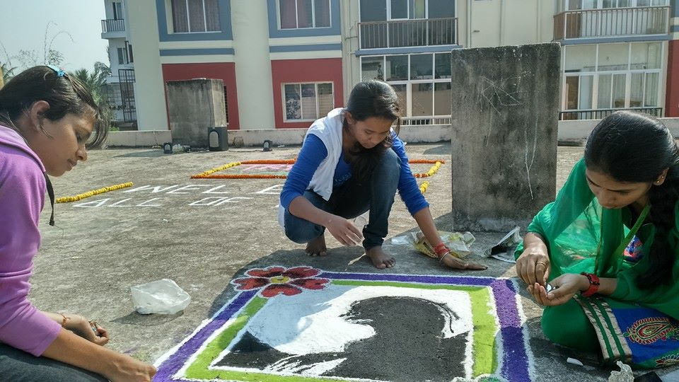 Rangoli competion by students at Trytoon Academy 6