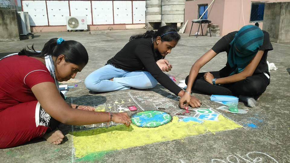 Rangoli competion by students at Trytoon Academy 9