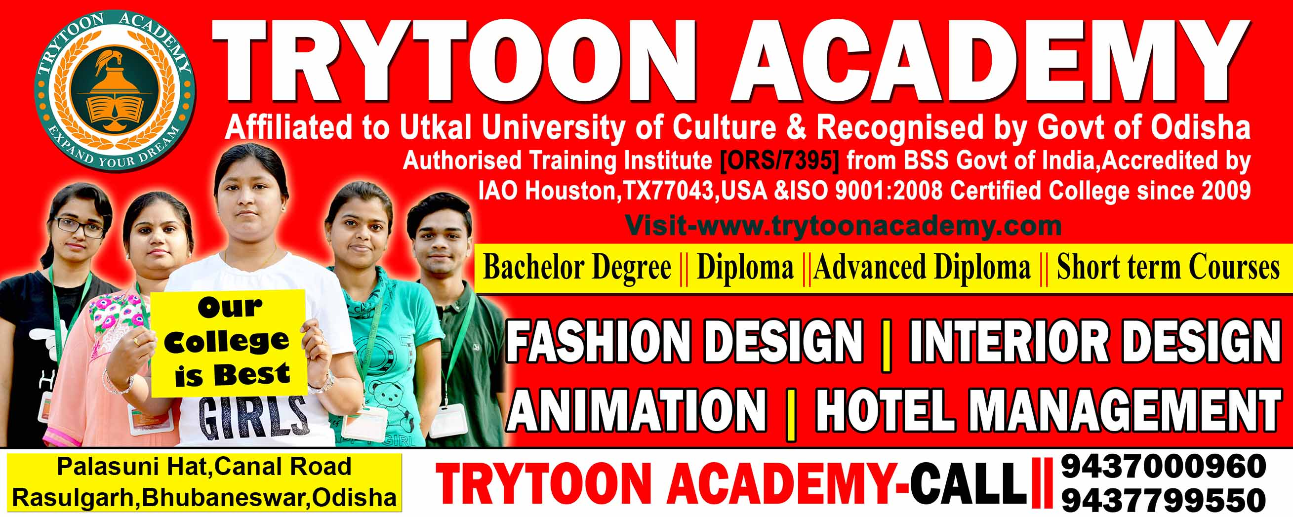 Best No1 College for Fashion Design,Interior Design,Hotel Management and Animation courses